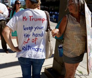 A few supporters showed their disdain for Trump in Baltimore.