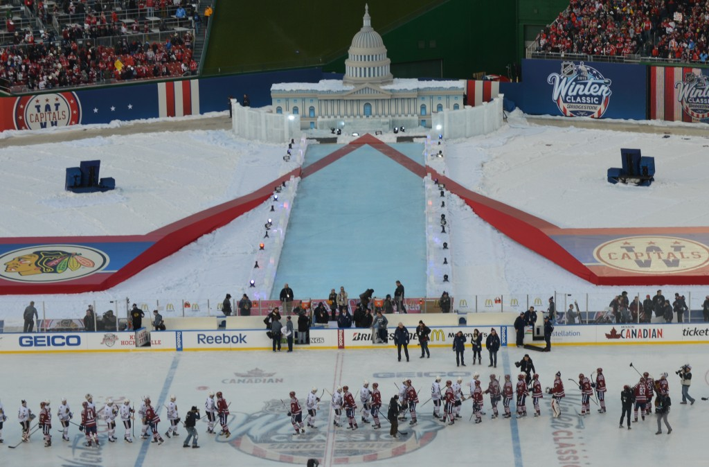 """What you saw here today from 43,000 people was a level of enthusiasm for hockey, for the Capitals, that I'm not sure many people imagined could ever have been accomplished here in Washington,"" NHL Commissioner Gary Bettman said. ""The atmosphere couldn't have been greater. The weather was spectacular. I have to congratulate my own special events people for the way they dressed up this park. I mean, the replica Capitol Building, the reflecting pool, actually somebody showed me a picture of somebody skating on the reflecting pool in 1918 to give you a sense of how far these things go back here. But it made for a fun day."" (Chris Swanson)"