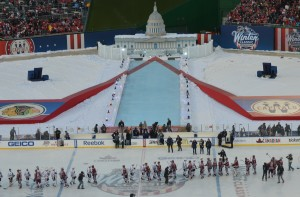 Following Winter Ice tradition, the Capitals and Blackhawks shook hands following Washington's 3-2 win. (Chris Swanson)