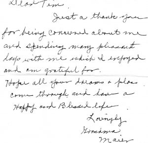 Lillian would pass away a few years after she moved to Colorado. After her death, this note was found in her belongings.