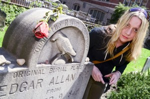 Laureen Russell visits the Poe grave for the first time.