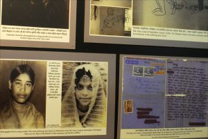 Black-and-white photographs of some of the estimated 200,000 Bangladeshi girls and women raped by Pakistani soldiers during the 1971 war of independence are displayed at the Liberation War Museum in Dhaka.