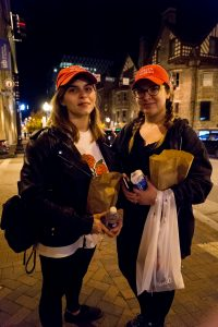 "Rachel and Courtney sported matching ""Nasty Woman"" hats for the Trump protest march. (Michael Jordan)"
