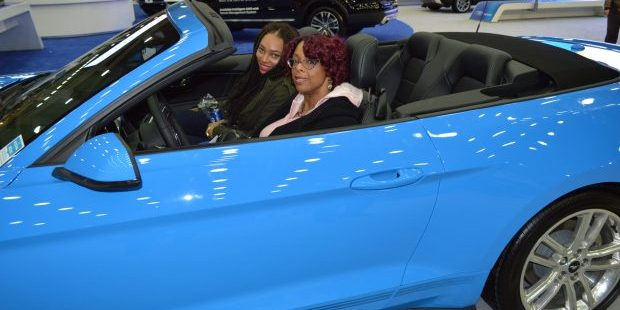 Baltimore women Kieran and Jeanna try out a 2017 Mustang at the Motor Trend International Auto Show in Baltimore (Anthony C. Hayes)
