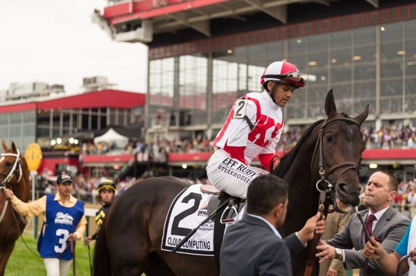 Jockey Javier Castellano on Cloud Computing at the Preakness at Pimlico. (Michael Jordan)