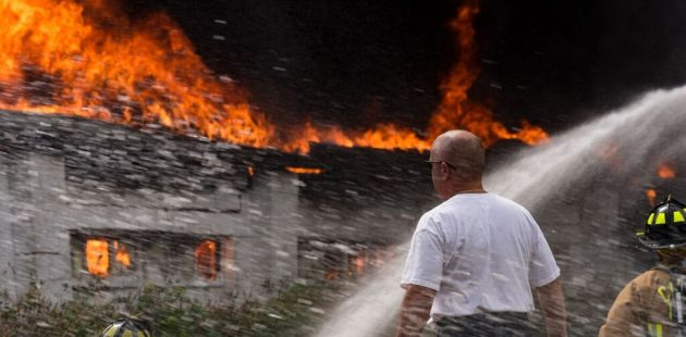 A fire chief observes the Mount Airy fire credit Michael Jordan BPE