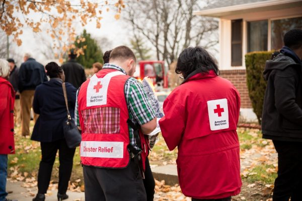 Red Cross workers at the Gas explosion in the Woodmoor area of Baltimore County. (Credit Michael Jordan BPE)