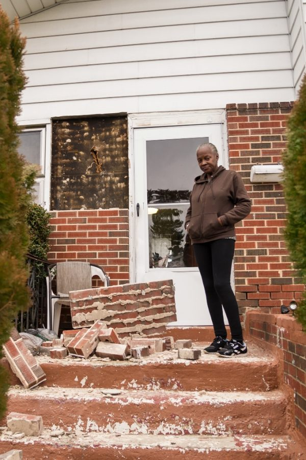 Wanda Gray at her damaged home. Gas explosion in the Woodmoor area of Baltimore County. (Credit Michael Jordan BPE)
