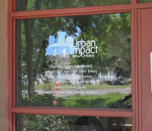 The office entry door for Urban Impact Ministries in Central City, New Orleans. (Anthony C. Hayes)