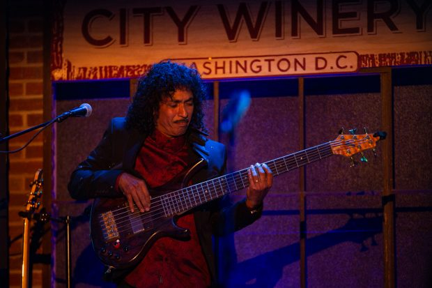 Bass guitarist Hussain Jiffry performing with Herb Alpert and Lani hall at the DC City Winery credit Mike Jordan