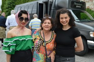 Aspiring actresses Sujin and Rebecca with festtval goer Mercy Clayton at the Ava Gardner Museum in Smithfield, North carolina. (Anthony C. Hayes)