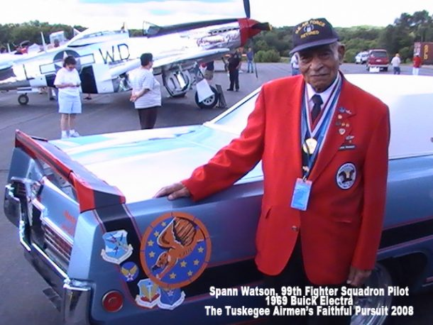 Tuskegee Airman Lt. Col. Spann Watson in Endicott, NY in 2008 at a Lockheed-Martin Family Day. (credit Michael Joseph)
