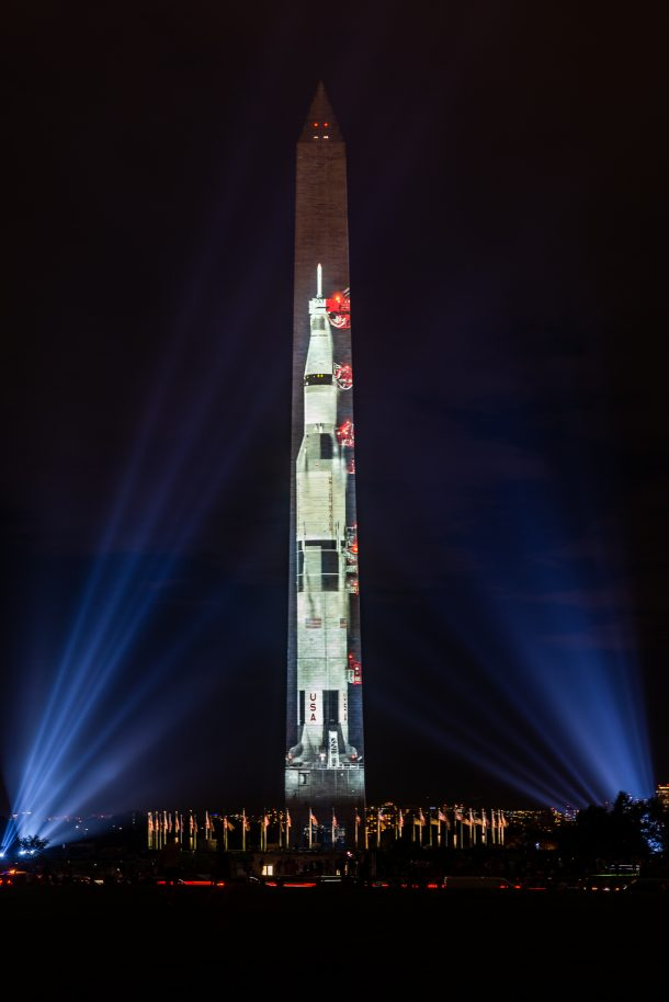 WASHINGTON D.C.- A Saturn 5 rocket is projected on the Washington Monument during the 50th anniversary celebration of Apollo 11's moon landing. (PHOTO/Mike Jordan)