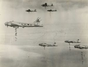 B-17: 1945-03-14 401st Bomb Group of US Air Force drop bombs on Lohne Germany. (Wikipedia Commons).