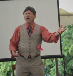 Historian Doug Mishler appeared as Evangelist Billy Sunday at the 2019 Mountain Lake Park Chautauqua Then & Now.. (Anthony C. Hayes)