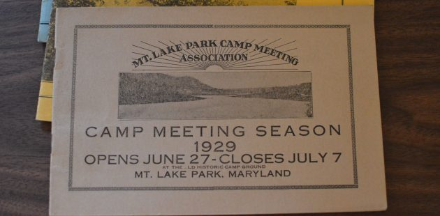 Cards which annouced the Mt. Park Camp Meeting Association's Camp Meeting Season were on display in the Mountain Park Lake Museum during Chautauqua, Then & Now. (Anthony C. Hayes)