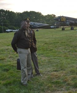 Micheal Joseph pictured here with Michael Joseph III) said he believes that presenting the history of the Tuskegee Airmen while in uniform aids in telling their story. Joseph attended the 2019 national Warplane Museum Airshow in Geneseo, NY. Anthony C. Hayes)