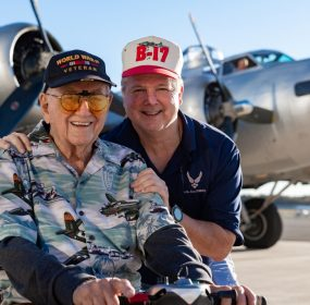 "Retired Colonel James C. (""Jimmie Dee"") Dieffenderfer with his son Scott at Manassas Regional Airport in front of the EAA B-17-G Aluminum Overcast (credit Mike Jordan/BPE)"