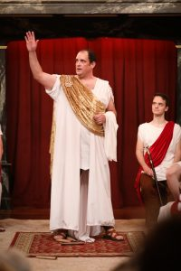 David Anthony Lewis and Michael Manocchio in Julius Caesar at the American Shakespeare Center's Blackfriars Playhouse in Staunton, VA.. Photo by Lindsey Walters.