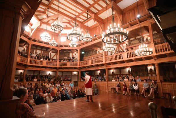 John Harrell addresses a rapt audience in Julius Caesar at the Blackfriars Playhouse in Staunton, VA. Photo by Lindsey Walters.