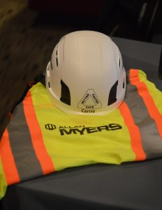 A vest and hard hat at the Allan Myers booth at the February 2020 DAV/RecruitMilitary Baltimore Veterans Job Fair