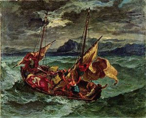 Christ sur la mer de Galilée Delacroix Walters Art Museum Baltimore, Maryland (public domain) Many people expierence a crisis of faith as they wonder why God allows bad things happen in the world.