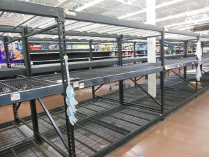 Empty toilet paper shelves at the Walmart Super Center in Halethorpe, Maryland. (Anthony C. Hayes)