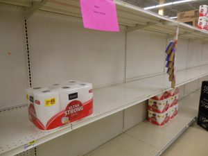 Toilet paper on a mostly empty shelf at the Smith Ave. locaion of the Shoppers Food market in Baltimore, Maryland. (Anthony C. Hayes)