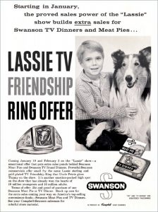 Jon Provost and Lassie in a magazine add for Swanson's TV Dinners.