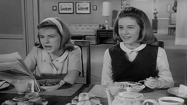 TV Dinners: Patty Duke appeared as cousins Patty and Cathy Lane. (opening credits screenshot from The Patty Duke Show)