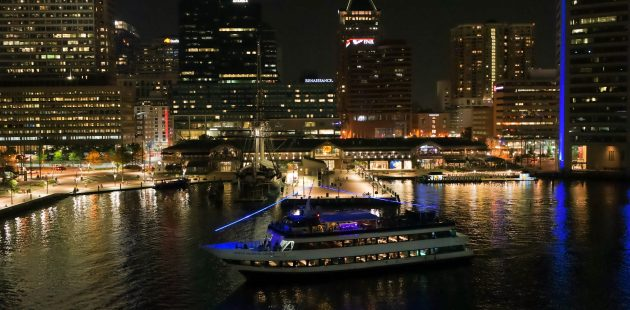 The Spirit of Baltimore sails against the backdrop of Baltimore's beautiful Inner Harbor. (courtesy Hornblower Cruises and Events)