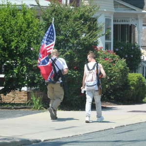 Gettysburg, PA July 4, 2020: Two patriots with long gun walk through Gettysburg. They and dozens more were in Gettysburg on July 4th because of a ANTIFA/BLM threat to burn flags in the Gettysburg National Cemetery. credit BPE Staff