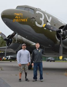 Veterans Steven Curry and Adam Kisielewski joined the media flight of That's All Brother. 2020 Arsenal of Democracy credit Anthony C. Hayes
