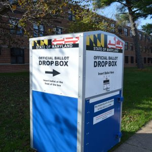 Vote: An official ballot drop box outside Dickey Hill Elementary School in Baltimore City. (Anthony C. Hayes)