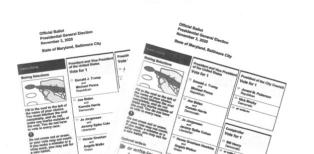 Sample ballots form the 2020 Maryland General Election credit Anthony C. Hayes