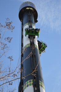 Brave souls descending from the 14-story Voodoo Drop at Six Flags Holiday in the Park. (Anthony C. Hayes/BPE)