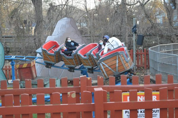 A child's roller coaster ride at Six Flags Holiday in the Park. (credit Anthony C. Hayes/BPE)