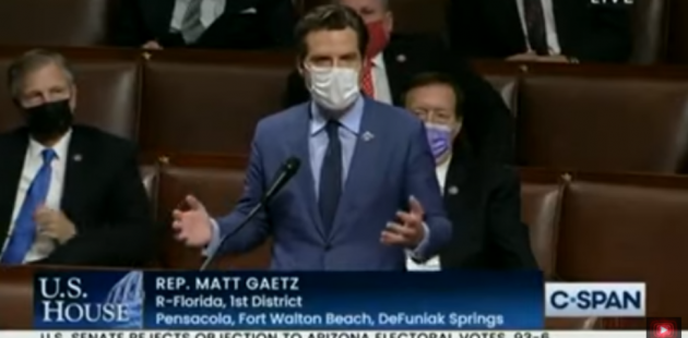 Rep. Matt Gaetz at the Electoral College raising objections to the 2020 election. (YouTube screenshot)