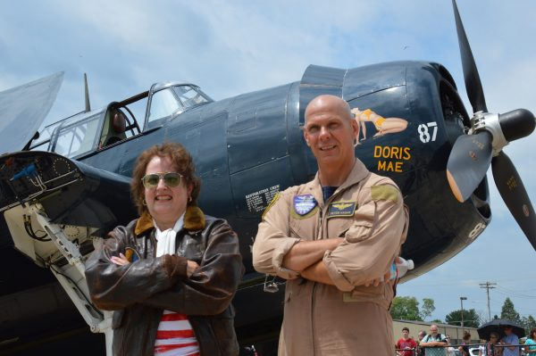 Lynn Stepanian-Smith and pilot Peter Hague at the Capital Wing CAF Frederick, MD Warplane Ride (credit Anthony C. Hayes)