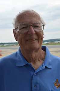 """Kenneth Krach after his flight aboard the Stinson L-5 Sentinel """"Gayle Ann"""" at the 2021 Commemorative Air Force Warbirds Showcase in Frederick, MD. (credit Anthony C. Hayes/BPE)"""
