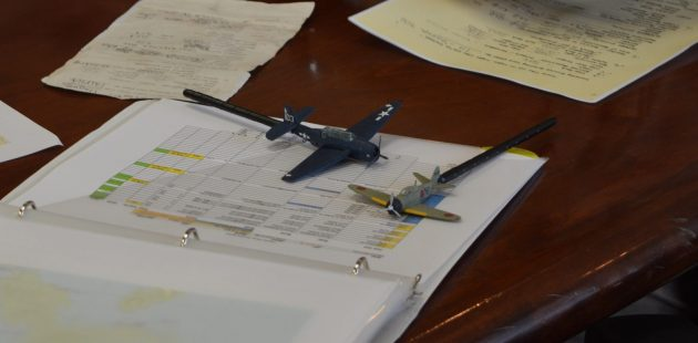 Two model planes were used to demonstrate evasive maneuvering for each torpedo mission at the 2021 Commemorative Air Force Warbirds Showcase in Frederick, MD. (credit Anthony C. Hayes/BPE)