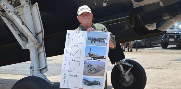"""Warbirds Showcase: Marylander Thomas Dembeck shows off his """"Lift List"""" before boarding the TBM Avenger """"Doris Mae"""" at the 2021 Commemorative Air Force Warbirds Showcase in Frederick, MD. (credit Anthony C. Hayes/BPE)"""
