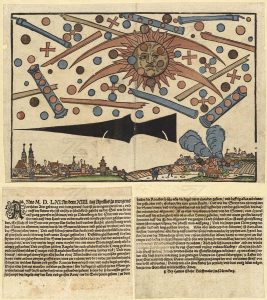 UFOs in Wartime: The celestial phenomenon over the German city of Nuremberg on April 14, 1561, as printed in an illustrated news notice in the same month. (Public Domain)