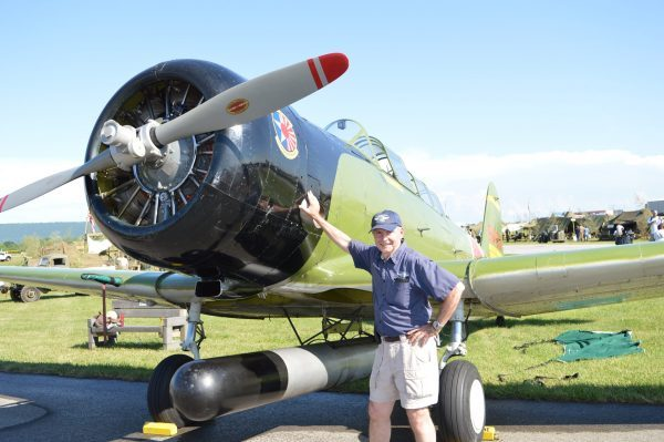"""Alan Armstrong of the Commemorative Air Force (Dixie Wing) is the pilot of one of the """"enemy"""" aircraft – a replica IJN Nakajima B5N2 """"Kate"""". (credit Anthony C. Hayes)"""