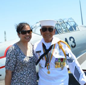 Fame Academia and his daughter Lynnette Herbine pose for a picture at the MAAM WWII Weekend. (credit Anthony C. Hayes)