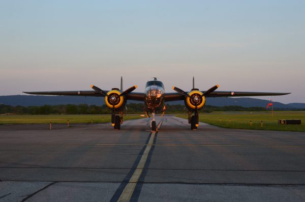 """The Yankee Air Museum's North American B-25 """"Mitchell"""" Rosie's Reply. Night Engine-Run Photo Shoot: MAAM WWII Weekend 2021 (credit Anthony C. Hayes)"""