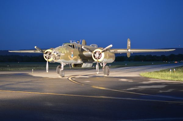 """Night Engine-Run Photo Shoot: The Yankee Air Museum's North American B-25 """"Mitchell"""" Rosie's Reply. (credit Anthony C. Hayes)"""