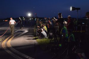 Night Engine-Run Photo Shoot: Photographers ready their cameras as firemen dampen the tarmac during the first Night Engine-Run Photo Shoot at the Mid-Atlantic Air Museum. (credit Anthony C. Hayes)