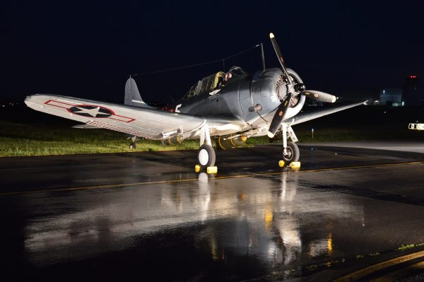 """MAAM 2021 Night Engine-Run Photo Shoot: The Commemorative Air Force's Douglas SBD-5 """"Dauntless"""" Lady in Blue. (Credit Anthony C. Hayes)"""