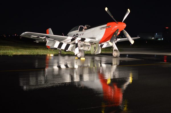 Night Engine-Run Photo Shoot of P-51-D 'Red Nose' at 2021 MAAM WWII Weekend. (credit Anthony C. Hayes)